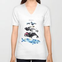 whales V-neck T-shirts featuring Whales by Amee Cherie Piek