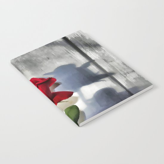 Red Rose Bud Shadow Notebook