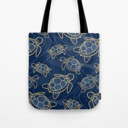 Japanese Pond Turtle / Dark Blue Tote Bag