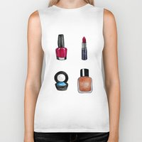 makeup Biker Tanks featuring Makeup is my art by Natalie Murray