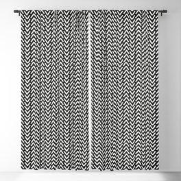 chevron white on black geometric pattern Blackout Curtain