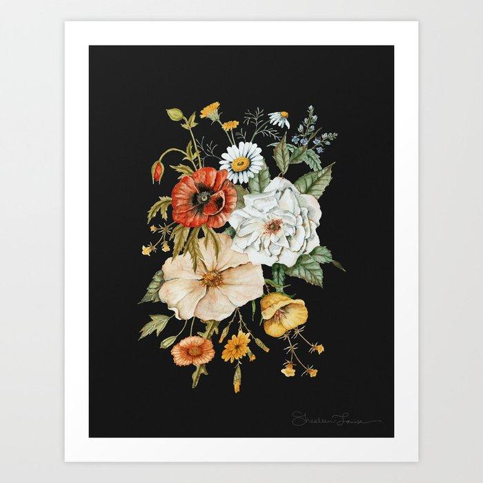 Wildflower Bouquet on Charcoal Art Print
