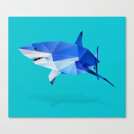 Low Poly Great White Canvas Print