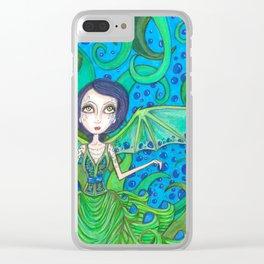 Blue Hair mermaid Clear iPhone Case