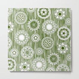 mandala cirque spot green white Metal Print