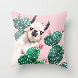 Llama and Cactus Pink Throw Pillow