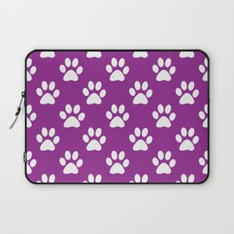 Purple and white paws pattern Laptop Sleeve