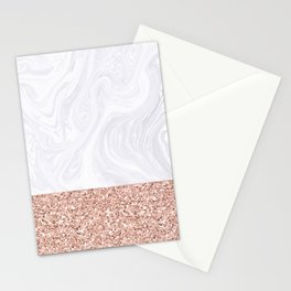 White Marble Dipped in Rose Gold Glitter Stationery Cards