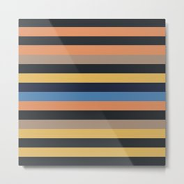 Retro minimal stripes | black brown blue yellow orange Metal Print