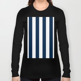 Vertical Stripes - White and Oxford Blue Long Sleeve T-shirt