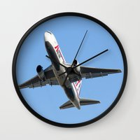 airplanes Wall Clocks featuring ABX Air Boeing 767-232(BDSF) Miami Take-off Florida Airplanes  by Yan David