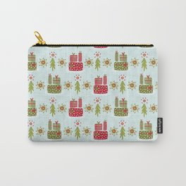 Wrapped Presents Under the Tree Green and Red Carry-All Pouch