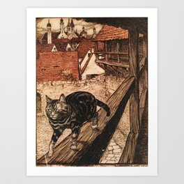 Arthur Rackham - Fairy Tales of the Brothers Grimm (1916) - The Cat and Mouse in Partnership Art Print