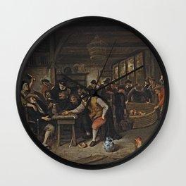 Jan Steen - The Cockfight Wall Clock