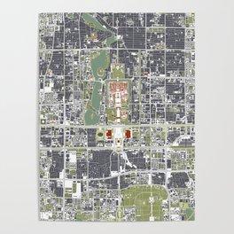 Beijing city map engraving Poster