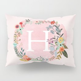 Flower Wreath with Personalized Monogram Initial Letter H on Pink Watercolor Paper Texture Artwork Pillow Sham