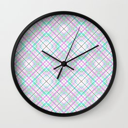 Pattern the cage .Pink and turquoise . Wall Clock