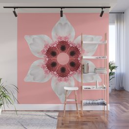 White and Pink Gerber Kaleidoscope Wall Mural
