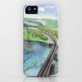 Railroad Across a River iPhone Case