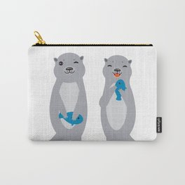 I Love You Mom. Funny grey kids otters with fish. Gift card for Mothers Day. Carry-All Pouch