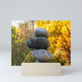 Rock Cairn on a Fall Day Mini Art Print
