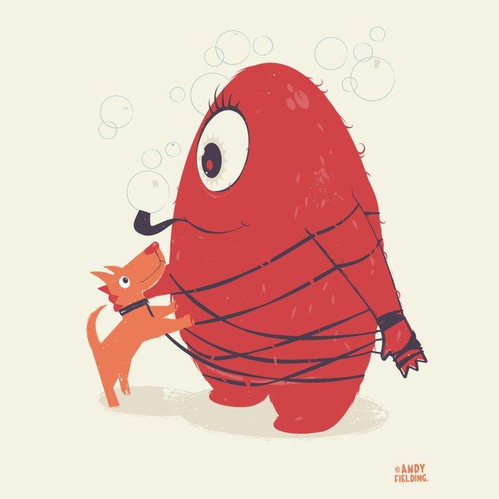 Cyclopes Monster Blob & Orange Dog Duvet Cover