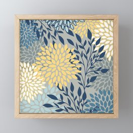 Festive, Floral Prints and Leaves, Yellow, Gray, Navy Blue, Teal Framed Mini Art Print