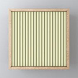 Mattress Ticking Narrow Striped Pattern in Dark Black and Cream Framed Mini Art Print