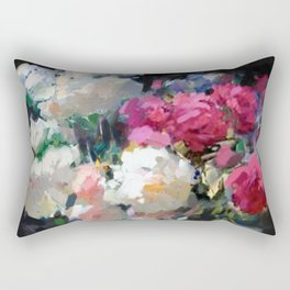 Still Life with White & Pink Roses Rectangular Pillow