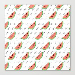 Watermelon Seeds Summer Pattern Canvas Print