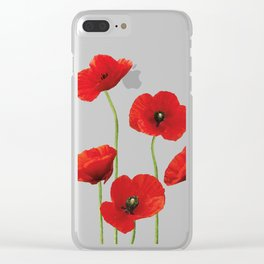 Poppies Field white background Clear iPhone Case