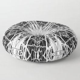 Dark Abstract Art, Marble, Mandala, Kaleidoscope, Surreal, Modern, Black and White Floor Pillow