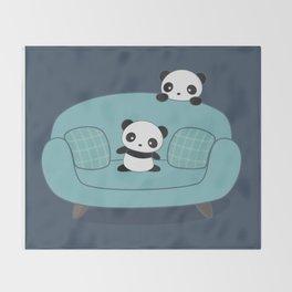 Kawaii Cute Pandas Throw Blanket