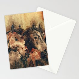 Galloping Wild Mustang Horses Stationery Cards