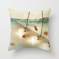 andreas preis Throw Pillows featuring ideas and goldfish by Vin Zzep