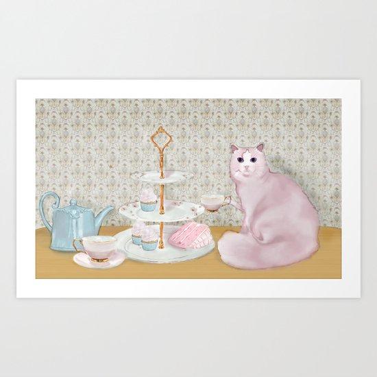 Cat's Tea Party Art Print