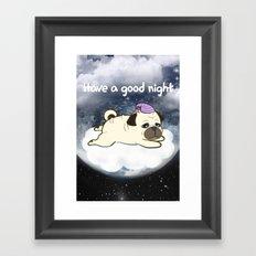 Sleepy Little Pug Framed Art Print