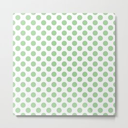 Mint Polka Dots Pattern Metal Print