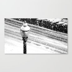 Lightpost in the snow storm. Canvas Print