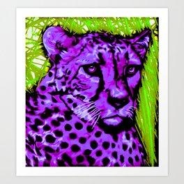 Black light purple Cheetah Art Print
