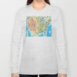 USA America Geometric Abstract Long Sleeve T-shirt