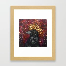 Leaf Crown Crow Framed Art Print