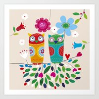 owls Art Prints featuring owls by Marianna Jagoda