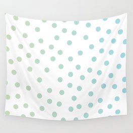 Simply Dots in Turquoise Green Blue Gradient on White Wall Tapestry
