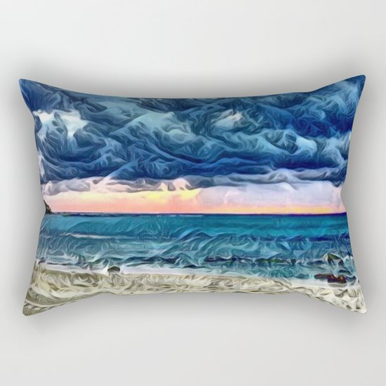 Pastel Sunset on the Beach of the Pacific Ocean Rectangular Pillow