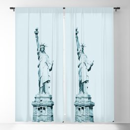 Pastel Blue Statue Of Liberty Blackout Curtain