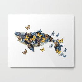 Watercolor whale with butterfly Metal Print