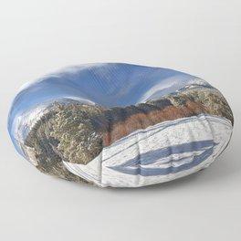 Winter Rocky Mountain Park Panorama Floor Pillow