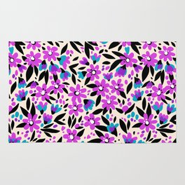 10 Pretty pattern in small flower. Small purple flowers. White background. Rug