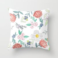 jenna kutcher Throw Pillows featuring Floral Watercolor Pattern  by Jenna Kutcher